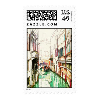 Venice - narrow canal postage stamps
