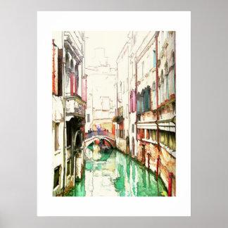 Venice - narrow canal poster