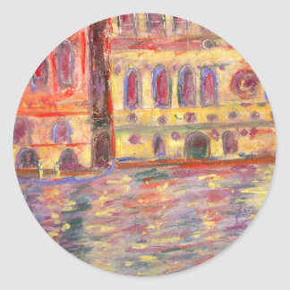 venice palazzos and colourful light classic round sticker