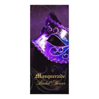 """Venice Purple Masquerade Bridal Shower Invitation 4"""" X 9.25"""" Invitation Card"""