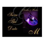 Venice Purple Masquerade Save The Date Postcard