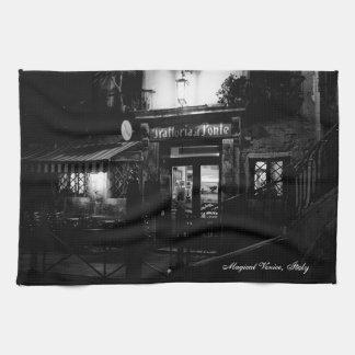 Venice Restaurant at night Kitchen Towel