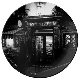 Venice Restaurant at Night Porcelain Plate