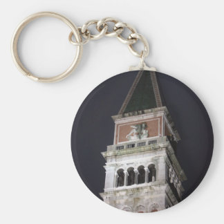 Venice San Marco Bell Tower at Night Time Basic Round Button Keychain