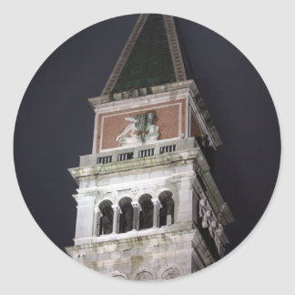 Venice San Marco Bell Tower at Night Time Classic Round Sticker
