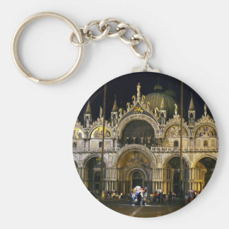 VENICE SAN MARCO SQUARE BASILICA BASIC ROUND BUTTON KEYCHAIN