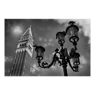 Venice San Marco Tower and Street Light Print