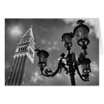 Venice San Marco Tower and Street Lights Card