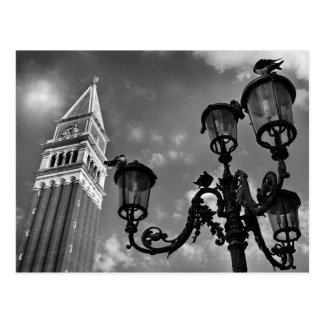 Venice San Marco Tower and Street Lights Postcard