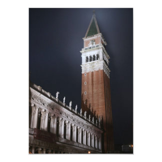 Venice San Marco Tower at Night Time Card