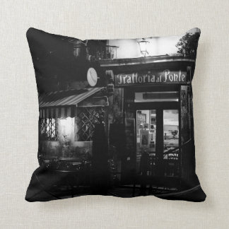 Venice Scene - Restaurant at Night Throw Pillow