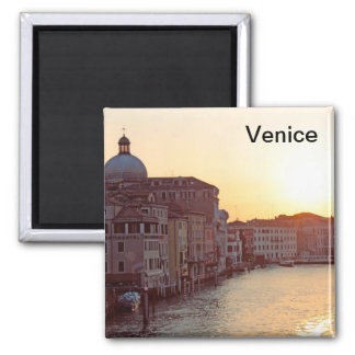 Venice,Sunset on the canal grande 2 Inch Square Magnet