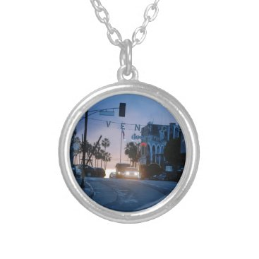 Beach Themed venice sunset silver plated necklace
