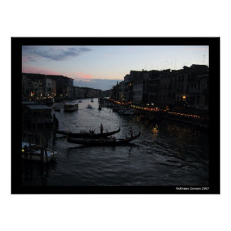 Venice Sunset with Gondalas Poster