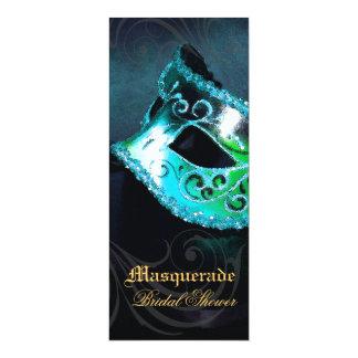 Venice Teal Masquerade Bridal Shower Invitation