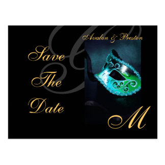 Venice Teal Masquerade Mask Save The Date Postcard