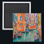"Venice Veneto Italy scenic summer photo Magnet<br><div class=""desc"">Enjoy colors from Italy! A beautiful Venice travel photography from Tom Podmore on this bright colorful magnet will make a beautiful and joyfull souvenir gift for him, her, for your family, couple and friends, and a delicious decoration for your home. Boats in flooded historic city, dreamy atmosphere and unique colors....</div>"
