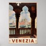 Venice Venezia Vintage Travel Poster Restored