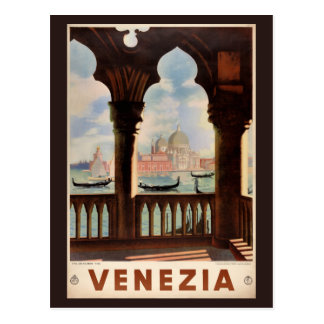 Venice Venezia Vintage Travel Poster Restored Postcard