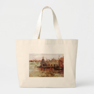 Venice - View of the Navy Arsenal by William Merri Large Tote Bag