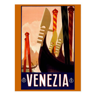 """Venice"" Vintage Italian Travel Poster Postcard"