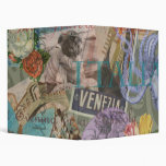 Venice Vintage Trendy Italy Travel Collage 3 Ring Binder