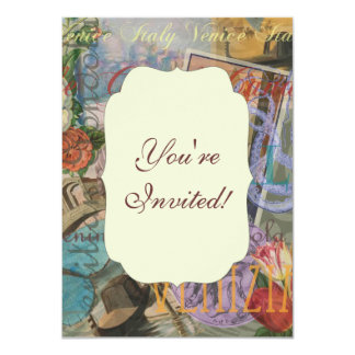 Venice Vintage Trendy Italy Travel Collage Card