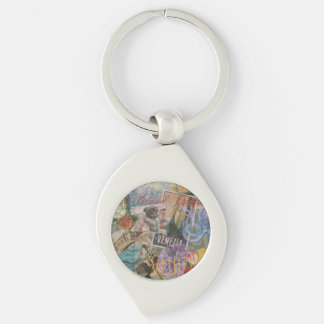Venice Vintage Trendy Italy Travel Collage Keychain