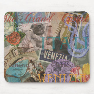 Venice Vintage Trendy Italy Travel Collage Mouse Pad