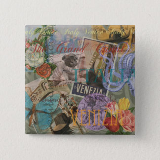 Venice Vintage Trendy Italy Travel Collage Pinback Button
