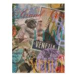 Venice Vintage Trendy Italy Travel Collage Postcard
