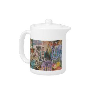 Venice Vintage Trendy Italy Travel Collage Teapot