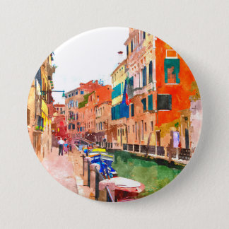 Venice watercolor painting badge button