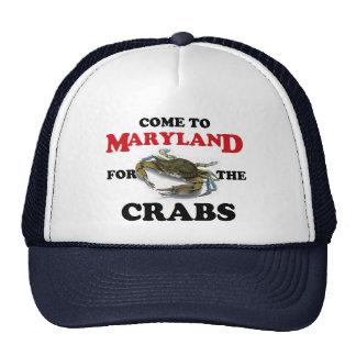 Venido a Maryland para el gorra de los cangrejos