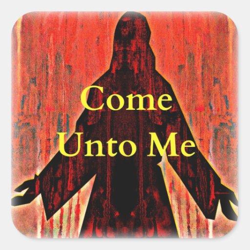 Venido a mí sellos del sobre del pegatina de Jesús