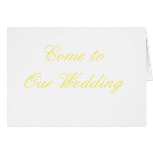 Venido a nuestro amarillo del boda los regalos de  tarjeton