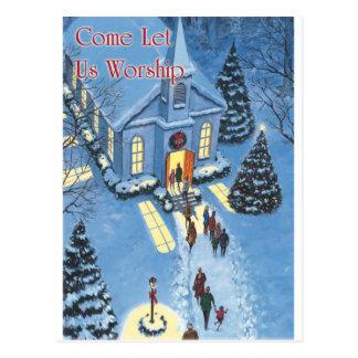 Venido adoremos la iglesia del navidad tarjeta postal