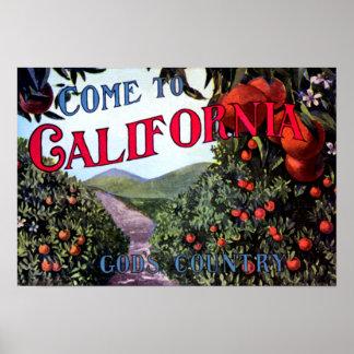 Venido al gráfico del vintage de California Póster