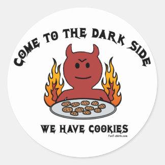 Venido al lado oscuro pegatina redonda