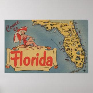 Venido al mapa de la Florida del estado, chica Pin Posters