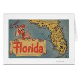 Venido al mapa de la Florida del estado, chica Pin Tarjetas