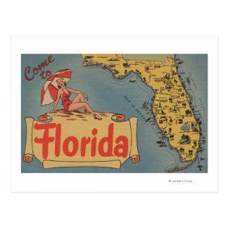 Venido al mapa de la Florida del estado, chica Tarjeta Postal
