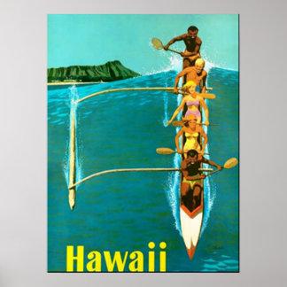Venido al poster del vintage de Hawaii