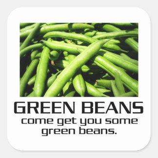 Venido consígale algunas habas verdes pegatina cuadrada