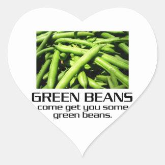 Venido consígale algunas habas verdes pegatina en forma de corazón