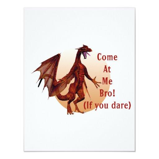 """venido en mí óvalo rojo del dragón w del bro invitación 4.25"""" x 5.5"""""""