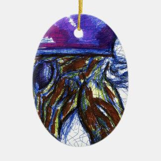 Venimos de otros mundos adorno navideño ovalado de cerámica