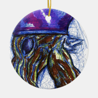 Venimos de otros mundos adorno navideño redondo de cerámica