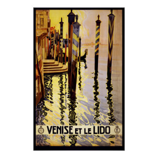 """""""Venise et le Lido"""" Italy vintage travel poster"""