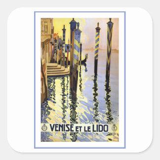 Venise Et Le Lido Vintage Square Sticker